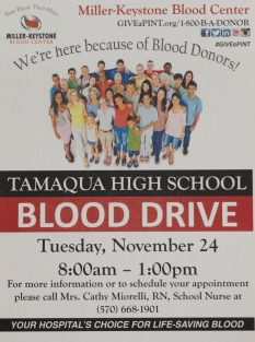 11-24-2015, Blood Drive, via Miller-Keystone Blood Center, Tamaqua High School, Tamaqua