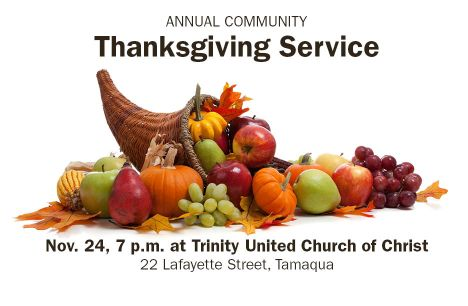11-24-2015, Community Thanksgiving Service, Trinity United Church of Christ, Tamaqua