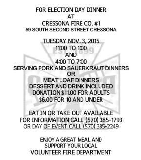 11-3-2015, Election Day Dinner, Cressona Fire Company, Cressona