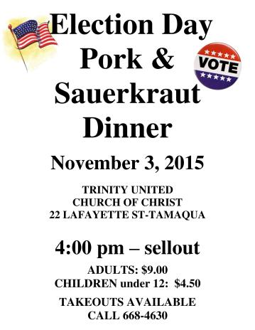 11-3-2015, Pork and Sauerkraut Dinner, Trinity United Church of Christ, Tamaqua-page