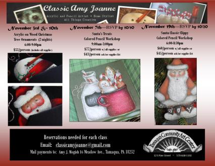 11-3, 7, 10, 19-2015, Classic Amy Joanne Art, Project Classes, Must RSVP early, Tamaqua Community Arts Center, Tamaqua