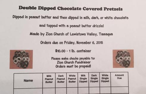 11-6-2015, Orders Due, Double Dipped Chocolate Covered Pretzels, Zion Church of Lewistown Valley, Tamaqua, Walker Township