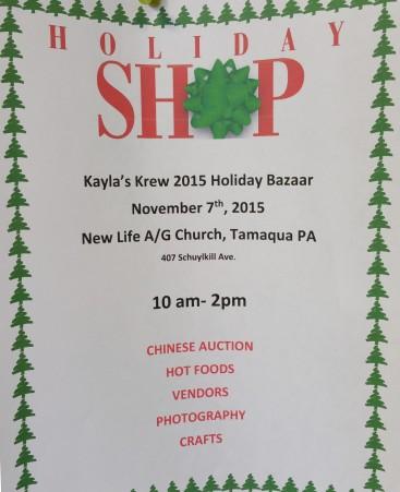 11-7-2015, Holiday Bazaar, via Kayla's Krew, New Life Assembly of God, Tamaqua