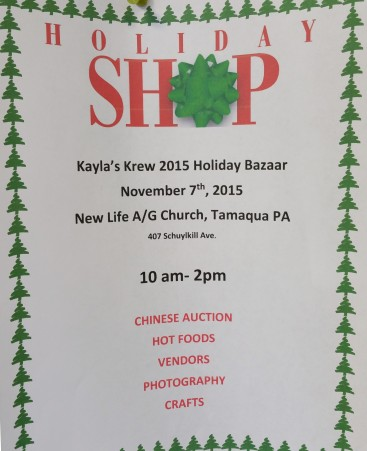 11-7-2015, Holiday Bazaar, via Kayla's Krew, New Life Assembly of God, Tamaqua