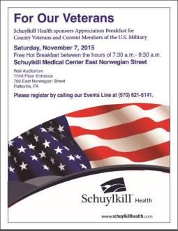 11-7-2015, Veteran Appreciation Breakfast, Wall Auditorium, Schuylkill Medical Center - East Norwegian Street, Pottsville