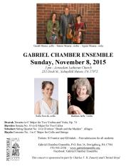 11-8-2015, Gabriel Chamber Ensemble performs, Jerusalem Lutheran Church, Schuylkill Haven