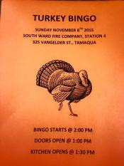 11-8-2015, Turkey Bingo, South Ward Fire Company, Tamaqua