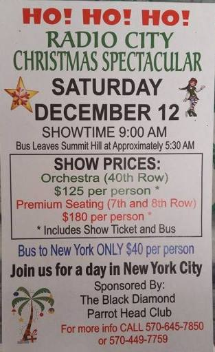 12-12-2015, Bus Trip to Radio City Christmas Spectacular, via Black Diamond Parrothead Club, Summit Hill