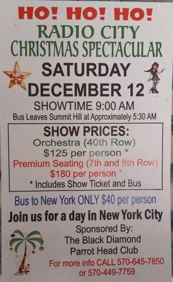 12-12-2015, Bus Trip to Radio City Christmas Spectacular, via Black Diamond Parrothead Club, Summit Hill
