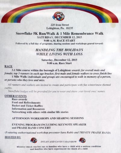 12-12-2015, Snowflake 5K Run, Walk, 1 Mile Remembrance Walk, Iron Street, Lehighton