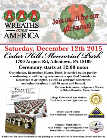 12-12-2015, Wreaths Across America, Cedar Hill Memorial Park, Allentown