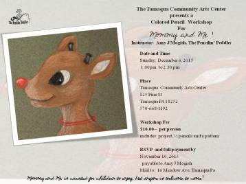 12-6-2015, Colored Pencil Workshop - Mommy and Me Rudolf, Tamaqua Community Arts Center, Tamaqua