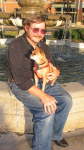 A Reverend and His Dog, Frankie, Depot Square Park, Tamaqua, 9-15-2015 (1)
