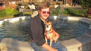 A Reverend and His Dog, Frankie, Depot Square Park, Tamaqua, 9-15-2015 (2)