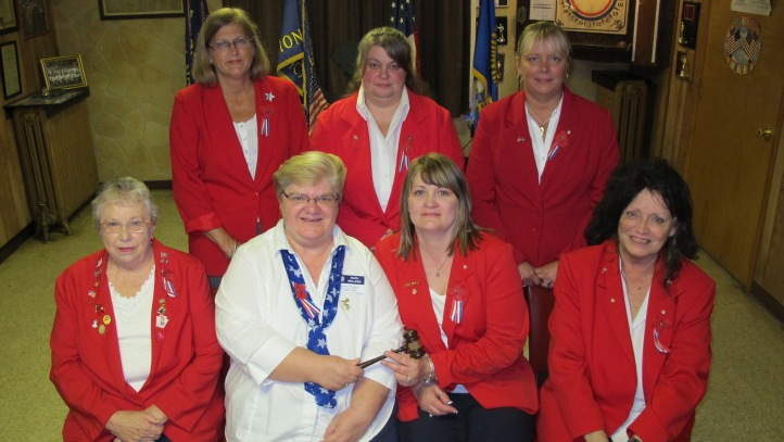 Pictured from front left are Nancy Kabana; Ruth Zellers, District President, Schuylkill County; Sherry Linkhorst, President; and Carol Kabana, chaplain. From back left are Christy Fritz, representing Colleen Kelly as Sgt. At Arms, Mary Ann Baddick as First Vice Commander, and Angelique Swolensky as secretary; Kristy Melchior, historian; and Wendy Ziegenfuss, Second Vice Commander.