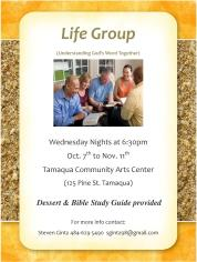 Oct. 7 to Nov. 11, 2015, Wednesdays, Life Group Program, Tamaqua Community Arts Center, Tamaqua