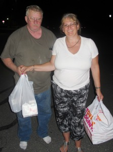 Pictured donating snacks are Raymond Pfeil and Mary Stine.