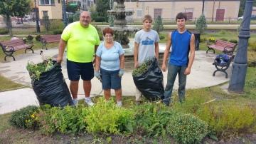 Pulling Weeds, Picking Up Garbage, Depot Square Park, Tamaqua, 9-19-2015 (1)
