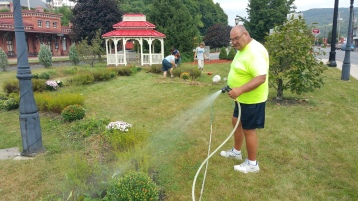 Pulling Weeds, Picking Up Garbage, Depot Square Park, Tamaqua, 9-19-2015 (6)
