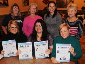 Pictured from front left are Shirley Tirpak, Director of Creative Changes Center for Arts and Humanities, Brockton Ann Marie Calabrese, founder of The Link Lisa Johnson, Vice President/Public Relations for Blue Mountain Health System. From back left are Tara Stauffenberg-Center Administrator for Pathstone, Coaldale and founder of Dudefest Gail Strohl, HALOS of Carbon County Amanda Hascin, Spanish teacher for Tamaqua Area High School Linda Wagner, co-chair of Schuylkill County Suicide Prevention Task Force.