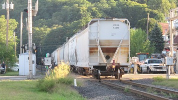 Train Passing in front of Tamaqua Train Station, Tamaqua, 9-15-2015 (24)