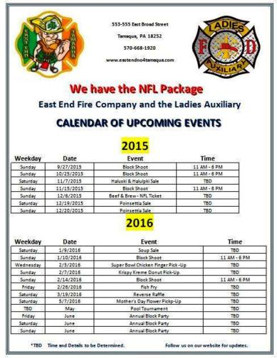 Upcoming Events, East End Fire Company, Tamaqua, 2015-2016