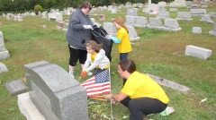 Volunteers Cleaning GAR Cemetery, Summit Hill, 9-13-2015 (11)