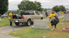 Volunteers Cleaning GAR Cemetery, Summit Hill, 9-13-2015 (12)