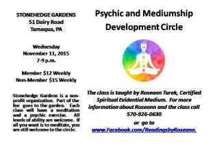 11-11-2015, Psychic and Mediumship Development Circle, Stonehedge Gardens, South Tamaqua