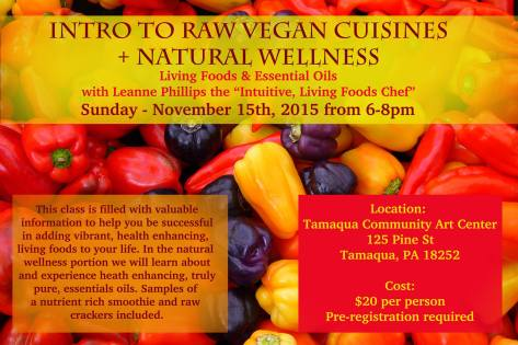 11-15-2015, Intro to Raw Vegan Cuisines, Natural Wellness, Tamaqua Community Arts Center, Tamaqua