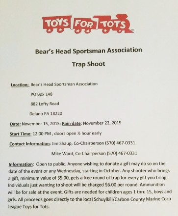 11-15-2015, Trap Shoot to benefit SCMCL Toys For Tots, Bear's Head Sportsman Association, Delano