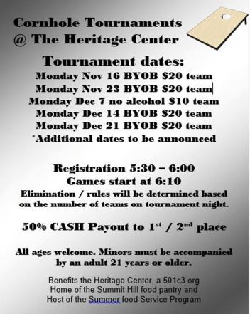 11-16-2015, Cornhole Tournament, Summit Hill Heritage Center, Summit Hill