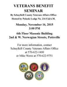 11-16-2015, Veterans Benefit Seminar, Pulaski Lodge, 2nd and West Norwegian Streets, Pottsville