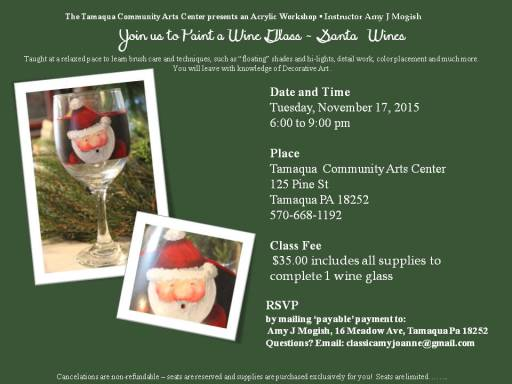 11-17-2015, Acrylic Workshop - Santa 'Wines', Tamaqua Community Arts Center, Tamaqua