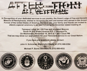 11-18-2015, Veteran Recognition Service, Grand Lodge of Free and Accepted Masons of Pennsylvania, Tamaqua Lodge No 238, Hometown