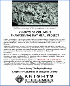 11-19-2015, Last Day to Order Free Thanksgiving Day Meals, via Schuylkill Knights of Columbus, Pottsville