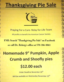 11-20-2015, Last Day to Order Thanksgiving Pie Sale, benefits Praying For A Cure, ACS Relay For Life, West Penn