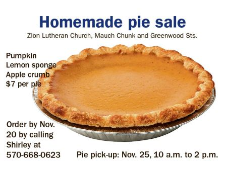 11-20-2015, Last Day to Order Thanksgiving Pie Sale, benefits Praying For A Cure, ACS Relay For Life, Zion Lutheran Church, Tamaqua