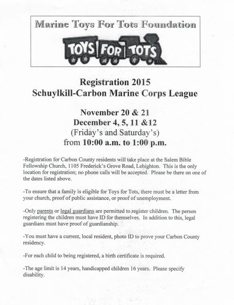 11-20, 21, 12-4, 5, 11, 12-2015, Carbon County Toys For Tots Registration, Schuylkill Carbon Marine Corps League, Salem Bible Fellowship Church, Lehighton