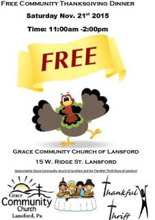 11-21-2015, Free Community Thanksgiving Dinner, Grace Community Church, Lansford