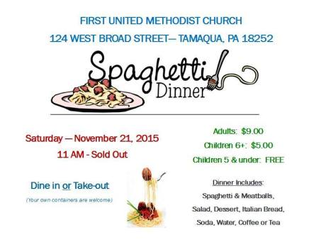 11-21-2015, Spaghetti Dinner, First United Methodist Church, Tamaqua