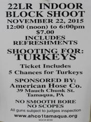 11-22-2015, 22LR Indoor Block Shoot for Turkeys, American Hose Company, Tamaqua