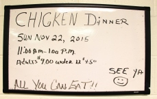 11-22-2015, Chicken Dinner, All You Can Eat, Trinity UCC, Tamaqua