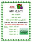 11-27, 12-4, 12-11, 12-18, 2015, STS Ride The Bus for a Dollar Holiday Program