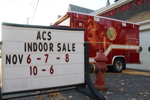 11-6, 7, 8-2015, Indoor Sale, benefits ACS, East End Fire Company, Tamaqua