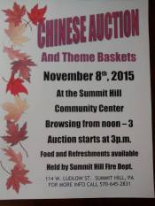 11-8-2015, Annual Chinese Auction, Diligence Fire Company, Summit Hill