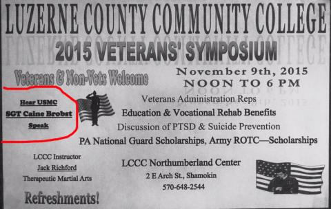 11-9-2015, Veterans Symposium, Luzerne County Community College, 2 E. Arch Street, Shamokin