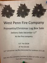 12-12-2015, Delivery Date for Poinsettia, Christmas Log Box Sale, West Penn Fire Company, West Penn