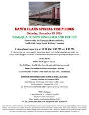 12-19-2015, Santa Claus Special Train Rides, 1030 AM, 1 PM, 330 PM, Train Station, Tamaqua
