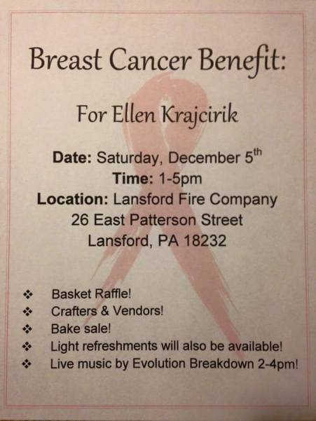 12-5-2015, Breast Cancer benefit for Ellen Krajcirik, Basket Raffle, Crafters, Vendors, Bake Sale, Lansford Fire Company, Lansford